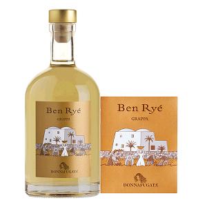 Grappa Ben Ryé Donnafugata. Da pregiate uve Zibibbo utilizzate per la produzione del Ben Ryé sull'isola di Pantelleria. Grappa affinata in piccoli carati di rovere, le vinacce di Zibibbo sono state distillate in alambicco discontinuo a bagnomaria.
