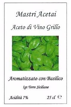 Aceto di Vino Grillo Aromatizzato con Basiclico