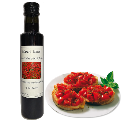 Aceto di Vino Nero d'Avola Aromatizzato Peperoncino Mastri Acetai