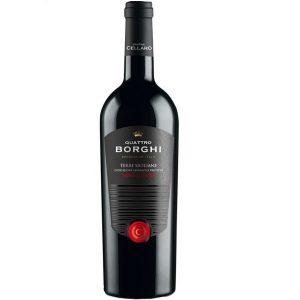 """Quattro Borghi Nero d'Avola Cellaro vino rosso Siciliano. Il dono più trasparente di una popolazione. È un atto di devozione per noi """"accarezzare"""" le uve con passione, rifiutando facili compromessi in ogni passo della filiera. Ogni bottiglia inneggia alla sincerità."""