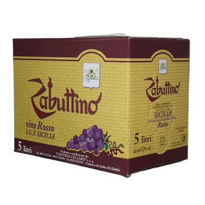 "Zabuttino Rosso Bag Box lt5 ""Cellaro"" Terre Siciliane"