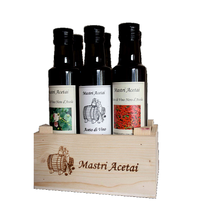 """Cassetta Aceti Aromatizzati 6 bottiglie da 250 ml """"Mastri Acetai"""""""