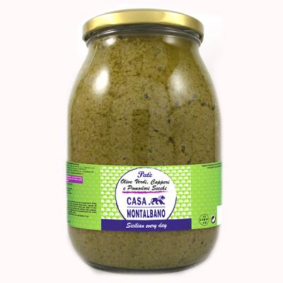 Patè di Olive Verdi Capperi e Pomodori Secchi 950 Gr Casa Montalbano
